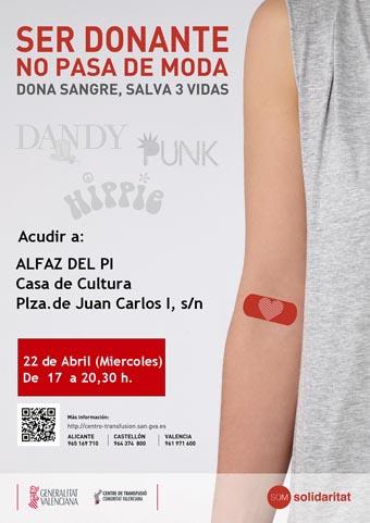 Sanidad_cartel donación sangre abril en casa cultura