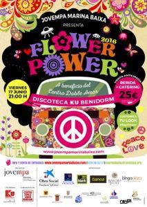 Cartel oficial Flower Power en beneficio del centro Doble Amor